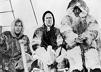 0266657 © Granger - Historical Picture ArchiveARCTIC EXPEDITION, c1913.   Men wearing fur parkas on ship a during an Arctic expedition. Photograph, c1913.