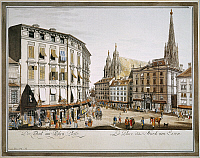 0007794 © Granger - Historical Picture ArchiveVIENNA, 1779.   Stock-im-Eisen Place, with St Stephen's Cathedral at right, Vienna: Austrian engraving, 1779.