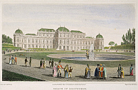 0008745 © Granger - Historical Picture ArchiveVIENNA: BELVEDERE, 1822.   The Palace of Belvedere in Vienna, Austria. Line engraving, 1822, after a drawing by Robert Batty.