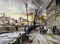 0032184 © Granger - Historical Picture ArchiveVIENNA: WINTER SCENE, 1888.   A winter scene along the Reinprechts Bridge, Vienna: oil on canvas, 1888, by Johann Varone.