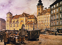 0032185 © Granger - Historical Picture ArchiveVIENNA: FREYUNG MARKET.   The Freyung market at Vienna: oil on canvas, 1919, by A. Kostlica.
