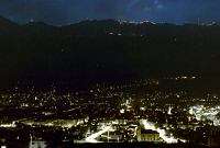 0055731 © Granger - Historical Picture ArchiveAUSTRIA: INNSBRUCK.   Town by night with Midsummer flares on the mountains.