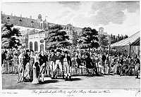 0115115 © Granger - Historical Picture ArchiveAUSTRIA: VIENNA, 1810.   Gesellschafts-Platz, a gathering place for the bourgeoise, on the old ramparts at Burg Bastey, Vienna. Lithograph, 1810.