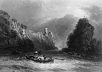 0165796 © Granger - Historical Picture ArchiveAUSTRIA: THE STRUDEL.   Boatmen navigating the Strudel, a section of rapids on the Danube River near Grein, Austria. Steel engraving, English, 1844, after William Henry Bartlett.