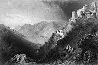 0165797 © Granger - Historical Picture ArchiveAUSTRIA: HINTERHAUS.   A view of the ruins of Hinterhaus Castle, dating from the 12th-13th century, overlooking the Danube River near Spitz, Austria. Steel engraving, English, 1844, after William Henry Bartlett.