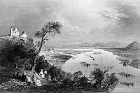 0165798 © Granger - Historical Picture ArchiveAUSTRIA: DANUBE.   A view of the Danube River from Leopoldsberg, on the outskirts of Vienna, Austria, looking towards Klosterneuburg. Steel engraving, English, 1844, after William Henry Bartlett.