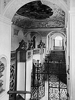0166612 © Granger - Historical Picture ArchiveAUSTRIA: ST. FLORIAN'S ABBEY.   Interior view of the Abbey of Saint Florian in Linz, Austria, showing the staircase designed by Jakob Prandtauer in the early 18th century. Photographed c1925.
