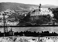 0166614 © Granger - Historical Picture ArchiveAUSTRIA: PERSENBEUG.   The castle at Persenbeug, Austria, viewed from the construction site of the Ybbs-Persenbeug hydroelectric dam on the Danube River. Photographed in 1955.