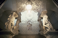 0167196 © Granger - Historical Picture ArchiveVIENNA: PALACE STAIRCASE.   A view of the staircase at the winter palace of Prince Eugene of Savoy in Vienna, Austria, designed in the early 18th century by Johann Bernhard Fishcer von Erlach and Lukas von Hildebrandt, with marble atlantes sculpted by Giovanni Giuliani. Photographed c1974.