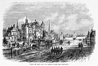 0115378 © Granger - Historical Picture ArchiveBELGIUM: GHENT, c1814.   View of the city of Ghent on the Scheldt River in Flanders, Belgium. Wood engraving, 1868.