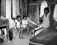 0077887 © Granger - Historical Picture ArchiveBRAZIL: FAVELA, 1955.   The interior of a 'favela' (slum dwelling) in a suburb of Rio de Janeiro, Brazil. Photographed in 1955.