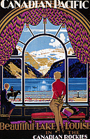 0094544 © Granger - Historical Picture ArchiveCANADA: LAKE LOUISE.   Resort at Lake Louise, Alberta, Canada. Poster illustration for the Canadian Pacific Railway, c1930.
