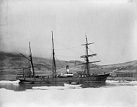 0266650 © Granger - Historical Picture ArchiveCANADA: EXPEDITION, c1882.   The steamship 'Proteus' in Discovery Harbour, Nunavut after dropping cargo for the Lady Franklin Bay Expedition. Photograph by George W. Rice, c1882.