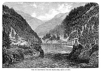 0267914 © Granger - Historical Picture ArchiveCANADA: FRASER RIVER, 1866.   Suspension bridge over the Fraser River in British Columbia, Canada. Wood engraving, English, 1866.