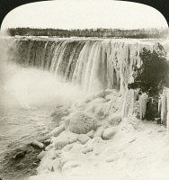 0350204 © Granger - Historical Picture ArchiveCANADA: NIAGARA FALLS.   The Canadian side of Niagara Falls in the winter. Stereograph, c1902.