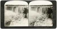 0350206 © Granger - Historical Picture ArchiveCANADA: NIAGARA FALLS.   The Canadian side of Niagara Falls in the winter. Stereograph, c1902.