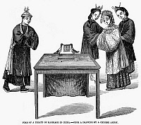 0094674 © Granger - Historical Picture ArchiveCHINA: MARRIAGE, 1857.   Form of a treaty of marriage in China. Wood engraving, 1857.
