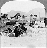 0116765 © Granger - Historical Picture ArchiveCHINA: KOWLOON, c1931.   Women breaking rock for road construction in Kowloon, China. Stereograph, c1931.