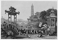 0120014 © Granger - Historical Picture ArchiveCHINA: CELEBRATION, 1843.   A feast of the lanterns celebration in China. Steel engraving, English, 1843, after a painting.