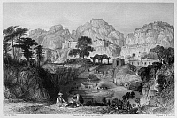 0120017 © Granger - Historical Picture ArchiveCHINA: ANCIENT TOMBS, 1843.   A view of the ancient tombs at Xiamen (or Amoy), China. Steel engraving, English, 1843, after a drawing by Thomas Allom.