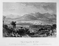 0120018 © Granger - Historical Picture ArchiveCHINA: XIAMEN, 1843.   A view of the city of Xiamen (or Amoy), China, from the ancient tombs. Steel engraving, English, 1843, after a drawing by Thomas Allom.