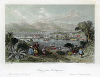 0120019 © Granger - Historical Picture ArchiveCHINA: XIAMEN, 1843.   A view of the harbor at Xiamen (or Amoy), China, from Gulangyu Island. Steel engraving, English, 1843, after a drawing by Thomas Allom.