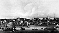 0120272 © Granger - Historical Picture ArchiveCHINA: CANTON, c1845.   View of the foreign factories on the waterfront at Canton, China. Oil, c1845-50.