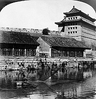 0121676 © Granger - Historical Picture ArchivePEKING: FISHERMEN, 1907.   Fishermen in the Grand Canal near the East Gate of the Forbidden City in Peking, China. Stereograph, 1907.