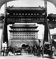 0121677 © Granger - Historical Picture ArchivePEKING: CH'IEN MEN GATE.   A view of Ch'ien Men Gate, at the south entrance to the Forbidden City in Peking, China. Stereograph, 1907.