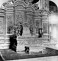 0121682 © Granger - Historical Picture ArchivePEKING: IMPERIAL THRONE.   A view of the Dragon Throne at the imperial palace in the Forbidden City, Peking, China. Stereograph, 1901.