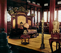 0121683 © Granger - Historical Picture ArchivePEKING: THRONE ROOM.   A throne room at the imperial palace in the Forbidden City, Peking, China. Photographed c1970.