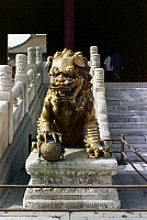 0121691 © Granger - Historical Picture ArchivePEKING: FOO DOG.   Gilded bronze male foo dog guarding an entrance at the imperial palace in the Forbidden City, Peking, China. Photographed c1970.