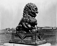 0121695 © Granger - Historical Picture ArchivePEKING: FOO LION.   Bronze male foo lion from the imperial palace in the Forbidden City, Peking, China. Photograph, early 20th century.
