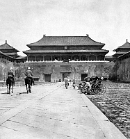 0126724 © Granger - Historical Picture ArchivePEKING: FORBIDDEN CITY.   Two mounted British soldiers on the approach to the main gate of the Forbidden City in Peking, China. Stereograph, c1901.