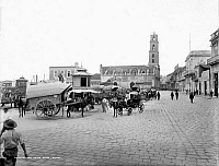 0126145 © Granger - Historical Picture ArchiveCUBA: HAVANA, c1900.   Plaza in Havana, Cuba, with the Customs House building in the background. Photograph, c1900.