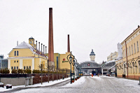 0623924 © Granger - Historical Picture ArchiveCZECH REPUBLIC: PILSNER.   Pilsner brewery facilities along the old factory road, Plzen, Czech Republic. Photograph by Vaclav Vasku, 6 January 2009. Full Credit: ullstein bild - JOKER / Vaclav Vasku / Granger. All Rights Reserved.