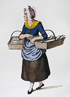0101662 © Granger - Historical Picture ArchiveDENMARK: FISH VENDOR, 1825.   'The Fishwife.' Lithograph, Danish, c1825.