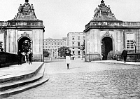 0126063 © Granger - Historical Picture ArchiveCHRISTIANSBORG PALACE, c1910.   The gates of Christiansborg Palace in Copenhagen, Denmark. Photograph, c1910.