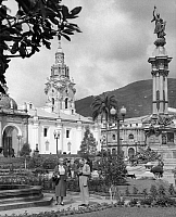 0130833 © Granger - Historical Picture ArchiveQUITO: INDEPENDENCE SQUARE.   Independence Square in Quito, Ecuador. In the background is the Cathedral of Quito, built in the mid 16th century. Photograph, 1950s or 1960s.