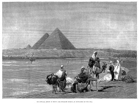 0002110 © Granger - Historical Picture ArchivePYRAMIDS AT GIZA, 1882.   The pyramids at Giza, Egypt, during an inundation of the Nile River. Wood engraving, English, 1882.