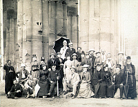0007071 © Granger - Historical Picture ArchiveEGYPT: SIGHTSEERS, 1890.   A group of European sightseers at Luxor, Egypt. Photograph, 1890.