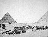 0016780 © Granger - Historical Picture ArchiveGREAT SPHINX AND PYRAMIDS.   The Great Sphinx and pyramids at Giza, Egypt. Photograph, mid-20th century.