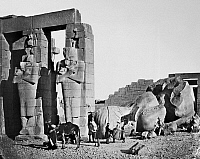 0031213 © Granger - Historical Picture ArchiveEGYPT: THEBES, 1857.   The fallen statue of Ramses II, pharaoh of the 19th Dynasty, at his mortuary temple in Thebes, Egypt. Photographed in 1857 by Francis Frith.