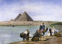 0079804 © Granger - Historical Picture ArchivePYRAMIDS AT GIZA, 1882.   The pyramids at Giza, Egypt, during an inundation of the Nile River. Wood engraving, English, 1882.