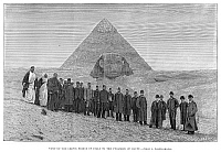 0094801 © Granger - Historical Picture ArchivePYRAMID AND SPHINX, 1887.   Visit of the Crown Prince of Italy to the Pyramids at Giza, Egypt. Line engraving, 1887.