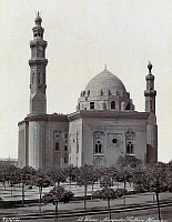 0120700 © Granger - Historical Picture ArchiveEGYPT: CAIRO.   An exterior view of the Sultan Hassan Mosque in Cairo, Egypt. Photograph, mid or late 19th century.