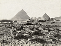 0128552 © Granger - Historical Picture ArchiveEGYPT: GIZA HOTEL.   The Mena House Hotel at Giza, Egypt, with the Great Pyramids in the background. Photograph, late 19th century.