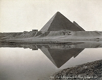 0128553 © Granger - Historical Picture ArchiveEGYPT: CHEOPS PYRAMID.   View of the Great Pyramid of Cheops and the Nile River at Giza, Egypt. Photograph, late 19th century.