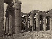 0128571 © Granger - Historical Picture ArchiveEGYPT: RAMESSEUM, 1860.   The columns of Ramesseum, the memorial temple for Ramses II located at the Theban Necropolis. Photograph by Francis Frith, 1860.