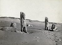 0129124 © Granger - Historical Picture ArchiveEGYPT: SCULPTURES.   Ruins of statues of two men and three sphinxes in the desert near the Sabou River, Egypt. Photograph by Francis Frith, c1860.